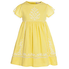 Buy John Lewis Girl Embroidered Prairie Dress, Yellow Online at johnlewis.com