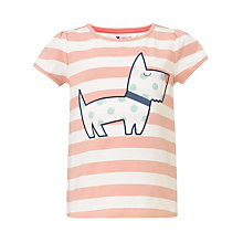 Buy John Lewis Girl Stripe Dog Motif T-Shirt, Pink/Cream Online at johnlewis.com