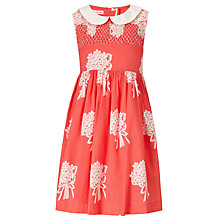 Buy John Lewis Girl Bouquet Peter Pan Collar Dress, Coral Online at johnlewis.com