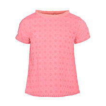 Buy John Lewis Girl Broderie T-Shirt, Pink Online at johnlewis.com