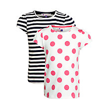 Buy John Lewis Girl Spot and Stripe T-Shirt Set, Pack of 2, Pink/Navy Online at johnlewis.com