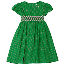 Buy Question Everything Girls' Polka Dot Hand Smocked Dress, Green Online at johnlewis.com