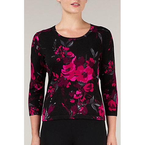 Buy Precis Petite Floral Print Jumper, Black/Pink Online at johnlewis.com