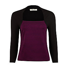 Buy Precis Petit Striped Faux Shrug Top, Black/Pink Online at johnlewis.com