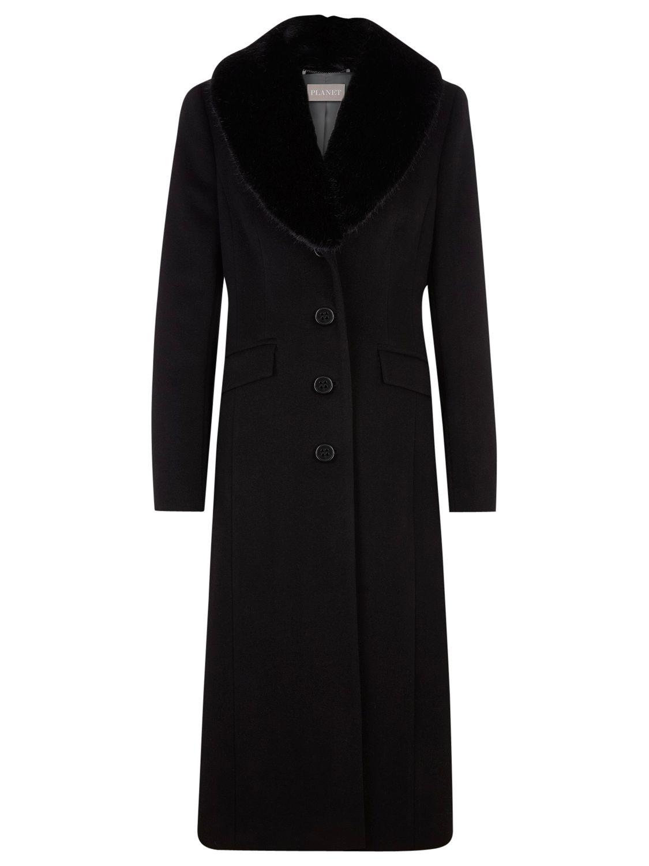 Planet Fur Trim Long Wool Coat