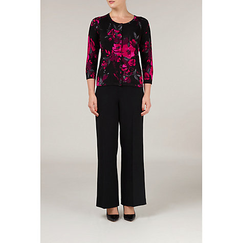 Buy Precis Petite Floral Print Cardigan, Black/Pink Online at johnlewis.com