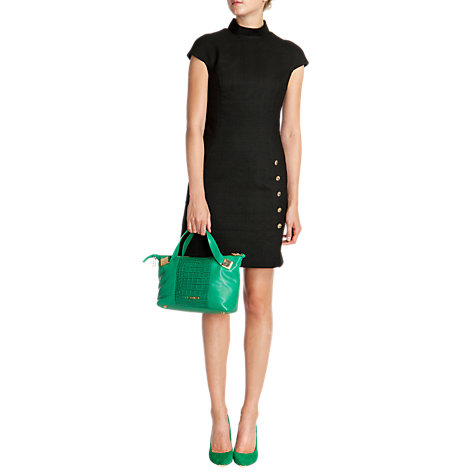 Buy Ted Baker Charme High Neck Button Dress, Black Online at johnlewis.com