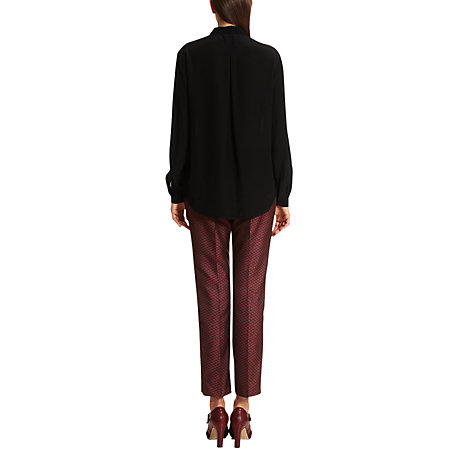 Buy Jigsaw Crinkle Contrast Shirt, Black Online at johnlewis.com