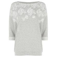Buy Oasis Puffed Lace Print Sweatshirt, Pale Grey Online at johnlewis.com
