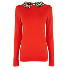 Buy Oasis Collar Jumper, Pale Red Online at johnlewis.com