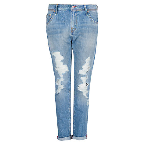Buy Mango Ripped Boyfriend Jeans, Light Pastel Blue Online at johnlewis.com