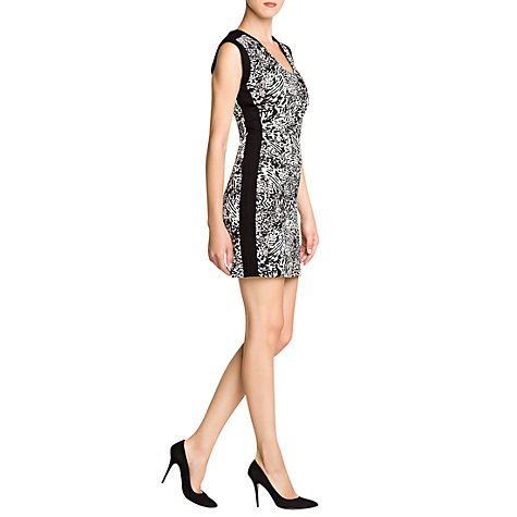 Buy Mango Animal Print Pencil Dress, Black Online at johnlewis.com