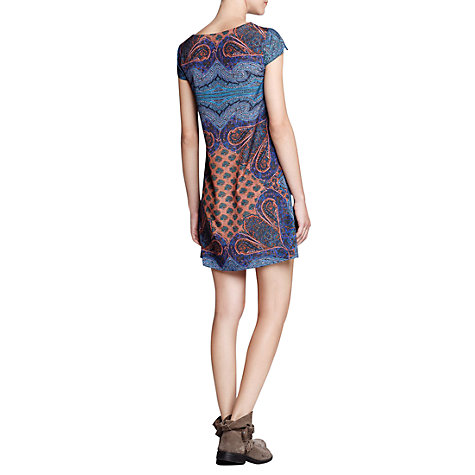 Buy Mango Scarf Print Shift Dress, Navy Online at johnlewis.com