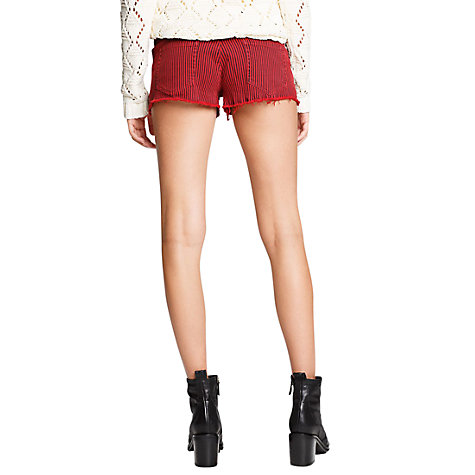 Buy Mango Ripped Striped Shorts, Bright Red Online at johnlewis.com