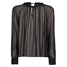 Buy Mango Pleated Polka-Dot Blouse, Black Online at johnlewis.com