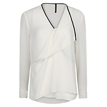 Buy Mango Drape Contrast Trim Blouse, Natural White Online at johnlewis.com