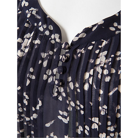 Buy East Jamie Print Pintuck Blouse, Navy Online at johnlewis.com