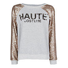 Buy Mango Typographic Sequined Sweatshirt, Medium Grey Online at johnlewis.com
