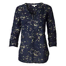 Buy Fat Face Mollie Drifting Bird Popover Top, Navy Online at johnlewis.com