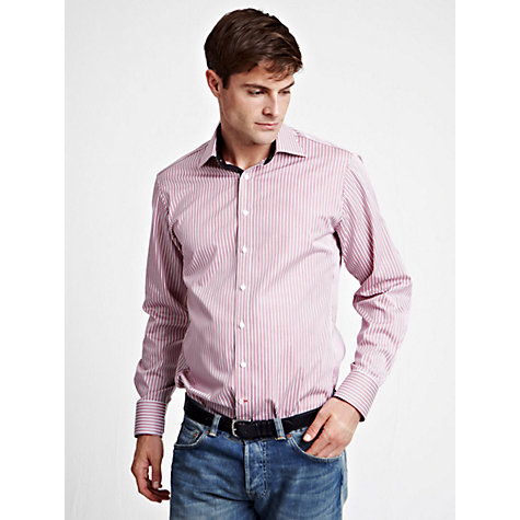 Buy Thomas Pink Slim Fit Striped Long Sleeve Shirt, Pink/White Online at johnlewis.com