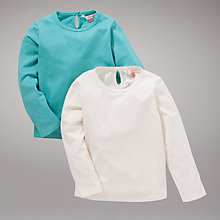 Buy John Lewis Long Sleeve Tops, Pack of 2, Green/Cream Online at johnlewis.com