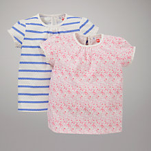 Buy John Lewis Floral and Striped Tops, Pack of 2, Multi Online at johnlewis.com