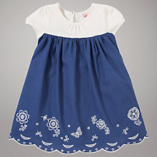 Buy John Lewis Butterfly Embroidered Dress, Blue/White Online at johnlewis.com