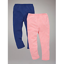 Buy John Lewis Plain and Stripe Leggings, Pack of 2, Navy/Pink Online at johnlewis.com