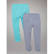 Buy John Lewis Plain and Stripe Leggings, Pack of 2, Navy/Turquoise Online at johnlewis.com