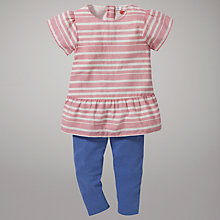 Buy John Lewis Striped Top and Leggings Set, Pink Online at johnlewis.com