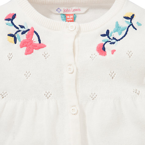 Buy John Lewis Embellished Pointelle Cardigan, Cream Online at johnlewis.com