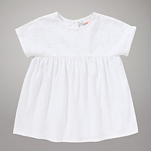 Buy John Lewis Broderie Jersey Top, Cream Online at johnlewis.com