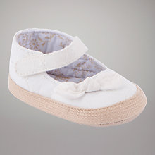 Buy John Lewis Baby Raffia Mary Jane Shoes, Cream Online at johnlewis.com