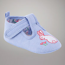 Buy John Lewis Baby Embroidered Bunny Shoes, Chambray Online at johnlewis.com