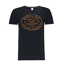 Buy Replay Circle Logo T-Shirt, Midnight Blue Online at johnlewis.com