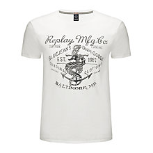 Buy Replay Anchor and Seahorse Print T-Shirt, Off White Online at johnlewis.com