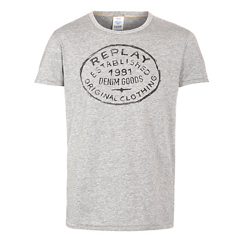 Buy Replay Circle Logo T-Shirt, Grey Melange Online at johnlewis.com