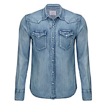 Buy Replay Western Denim Shirt, Denim Blue Online at johnlewis.com