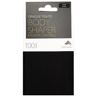John Lewis 100 Denier Bodyshaper Opaque Tights, Black
