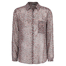 Buy Mango Leopard Print Shirt, Bright Red Online at johnlewis.com