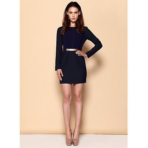 Buy Paisie Pleated Panel Dress, Navy Online at johnlewis.com