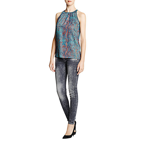 Buy Mango Snakeskin Print Blouse, Bright Green Online at johnlewis.com