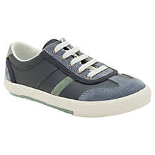 Buy Clarks Alfie Fun Coated Leather Trainers, Navy Online at johnlewis.com