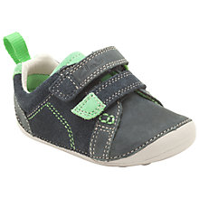 Buy Clarks Tiny Soft Velcro Trainers, Navy/Green Online at johnlewis.com
