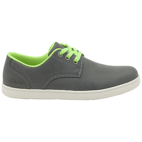 Buy Clarks Holbray Fun Denim Trainers, Grey/Lime Online at johnlewis.com