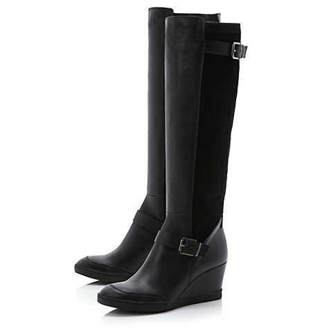 Buy Dune Toddy Wedge Heel Knee Boots, Black Leather Online at johnlewis.com