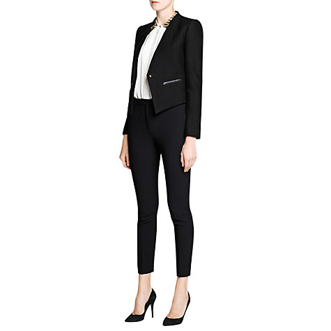 Buy Mango Jacquard Cropped Jacket, Black Online at johnlewis.com