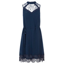 Buy Warehouse High Neck Lace Swing Dress, Blue Online at johnlewis.com
