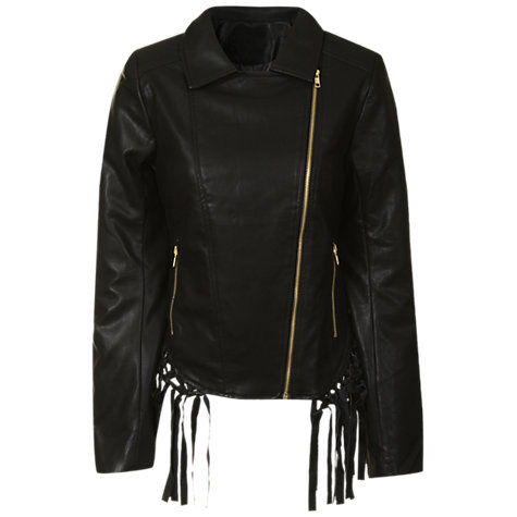 Buy True Decadence Fringed Biker Jacket, Black Online at johnlewis.com