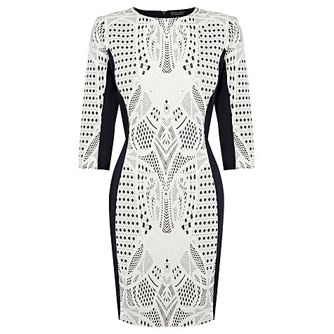 Buy Warehouse Jacquard Bodycon Dress, Dark Grey Online at johnlewis.com